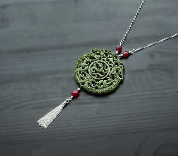 Green Jade & Ruby Silver Tassel Necklace, carved jade pendant, hand carved jade, talisman pendant, jade dragon, amulet jewelry, double sided