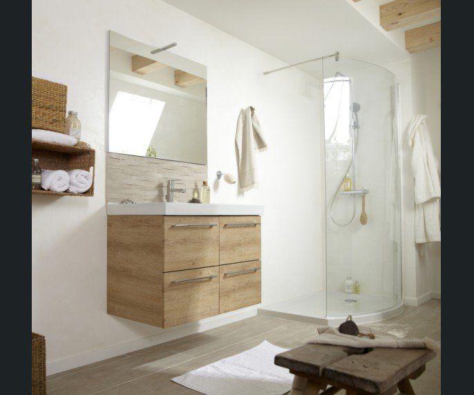 Salle de bains blanc beige naturel bois sensea naturel for Salle de bain yvetot
