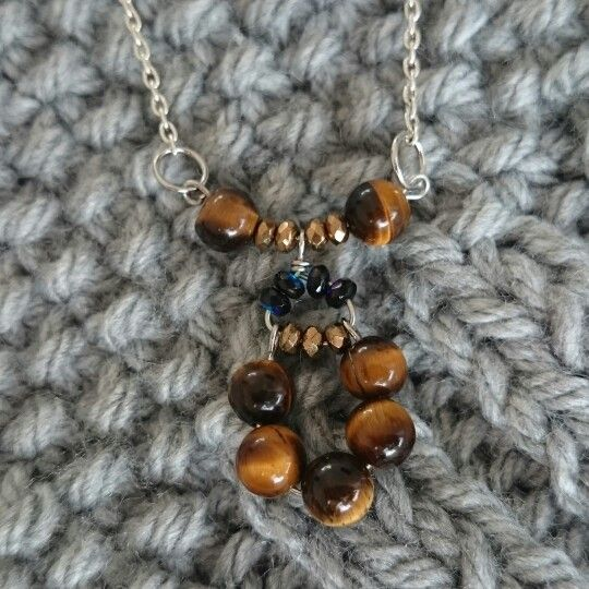 Necklace with Tiger eyes stones and Czech beads.