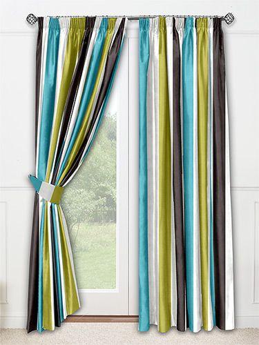 Silken Stripe Aqua Curtains from Curtains 2go