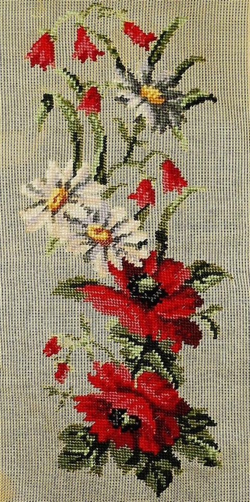 POPPIES & DAISIES Vintage 21x9 Long Floral Preworked 10 Mesh NEEDLEPOINT CANVAS