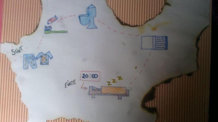 Structuurkaart : avondroutine. Zo weten ze wat ze allemaal moeten doen voor het slapen gaan.
