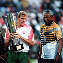 Our hero, our Madiba: Showing his support for Bafana Bafana