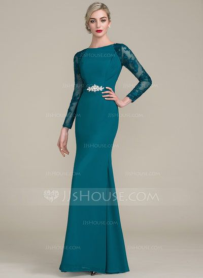 Trumpet/Mermaid Scoop Neck Floor-Length Chiffon Lace Mother of the Bride Dress With Ruffle Beading (008102708)