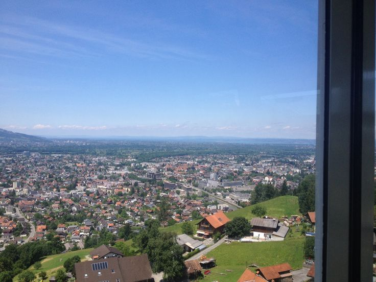 Cable car ride up to the Karren restaurant, Dornbirn, Austria.  Lake Constance in the distance.