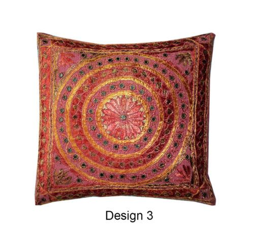 "Orange Yellow Indian Embroidery Mirror work Vintage Ethnic Cushion Cover 16""   eBay"