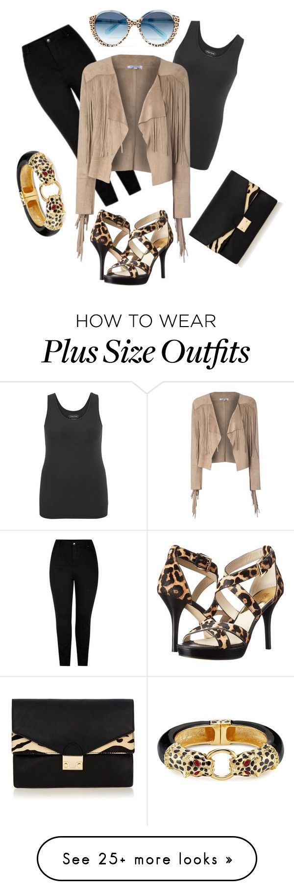 """Animal Print Plus Size Outfit"" by sylwia-z on Polyvore featuring Cutler and Gross, MICHAEL Michael Kors, New Look, maurices, Glamorous, Loeffler Randall and Kenneth Jay Lane"