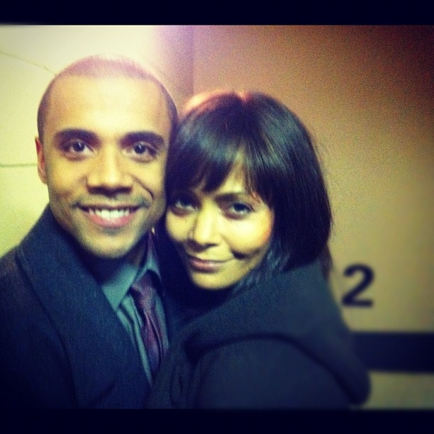 Thandie Newton with actor Jarod Joseph from her new TV series Rogue