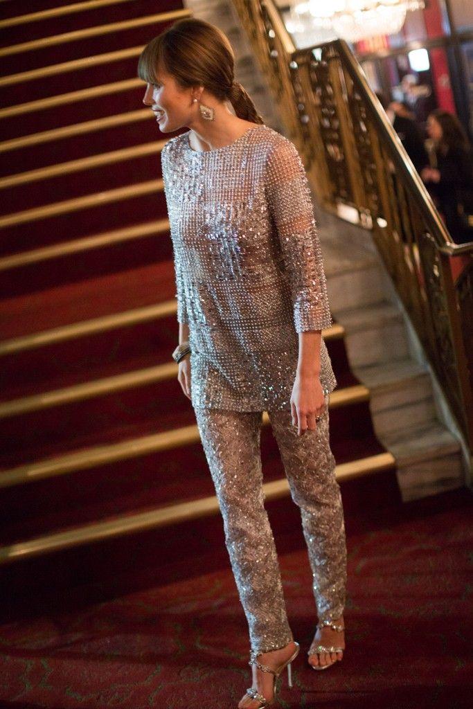 Jessica Biel in Oscar de la Renta at the 'Hitchcock' premiere in New York.  [Photo by Scott Rudd]