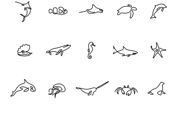 Set of marine animal icons / logos made in one line.