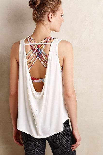 Women's Fashion Solid Backless Active Sports Gym Vest Top
