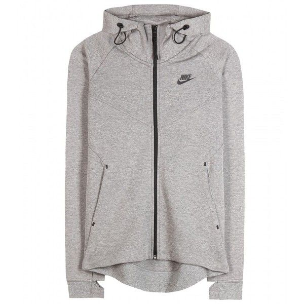 Nike Nike Tech Fleece Cotton-Blend Jacket ($105) ❤ liked on Polyvore featuring outerwear, jackets, hoodies, grey, nike, grey jacket, gray fleece jacket, nike jackets and fleece jacket