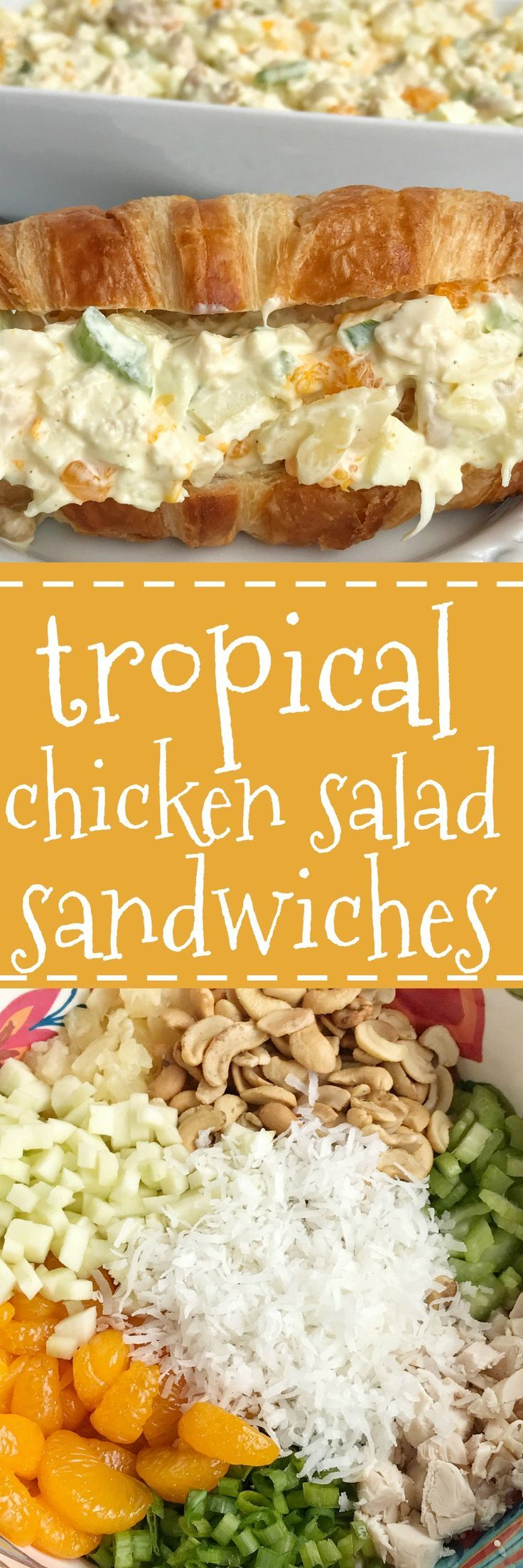 Tropical chicken salad sandwiches are a no oven dinner that are so creamy, delicious, and full of tropical flavors. Mandarin oranges, pineapple, green apple, coconut, green onions, and cashews. Covered in a creamy and simple dressing. These are perfect fo