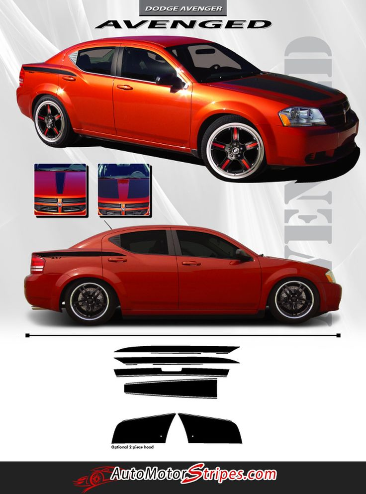 2008-2014 Dodge Avenger Avenged Hood Side Quarter Panel and Trunk Blackout 3M Vinyl Stripes Kit
