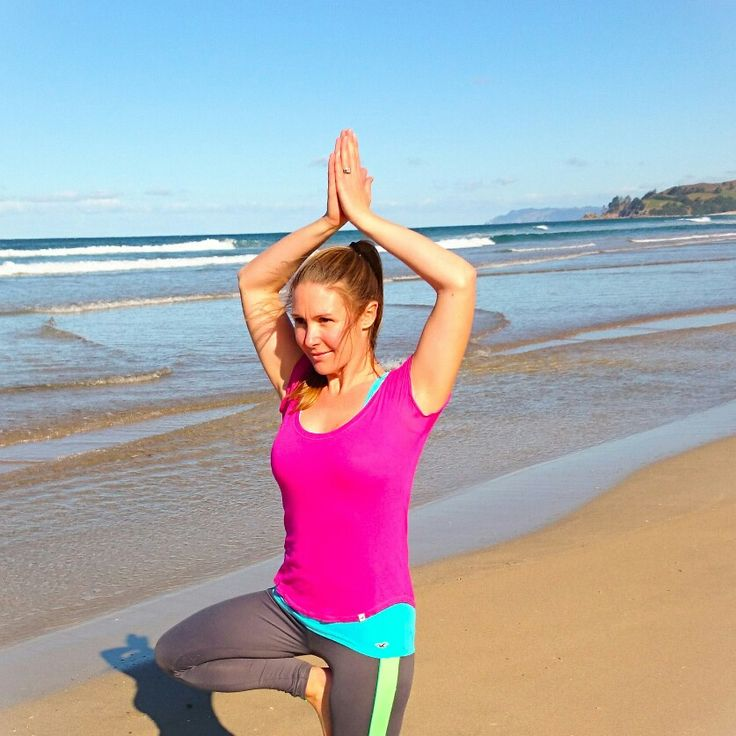 Tree pose on new zealand beach