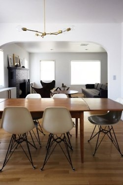 dining room - Danish 60s teak extendable table + eames-like chairs