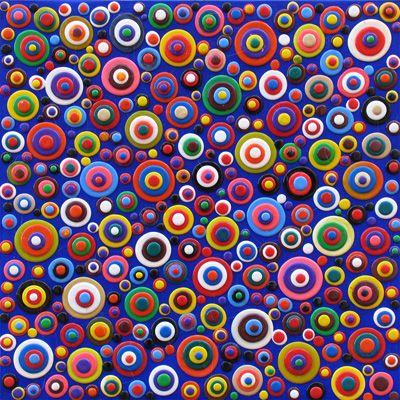 Orbi Blu- colle siliconiche su tela  50 x 50 - 2011