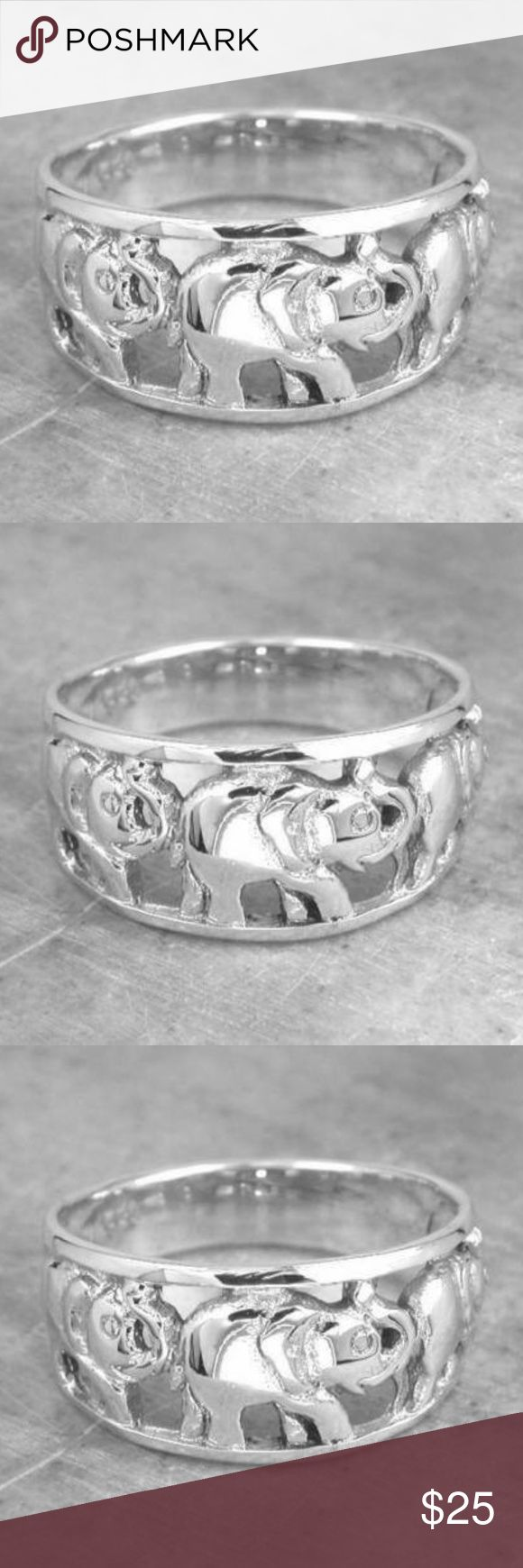 STERLING SILVER LUCKY ELEPHANTS RING .925 STERLING SILVER ELEPHANTS RING SIZE 6 Lucky Brand Jewelry Rings