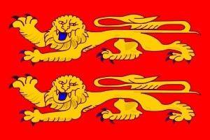 le drapeau normand avec ses deux léopards sur fond rouge