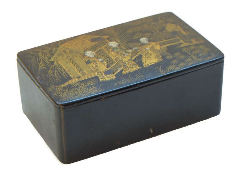French decorated papier mâché box | From a unique collection of antique and modern decorative boxes at http://www.1stdibs.com/furniture/more-furniture-collectibles/decorative-boxes/