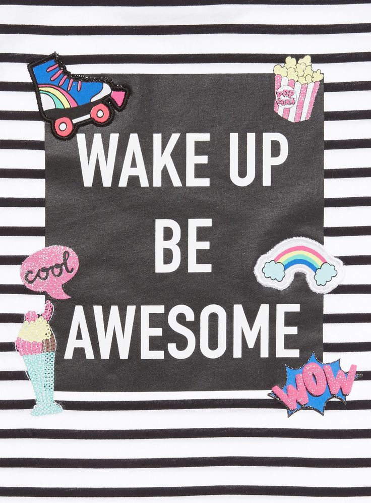 Create cool weekend looks with this 'Wake Up, Be Awesome' slogan tee, which features a trendy slashed hem, embroidered patches, and glittering details.   Girls white 'Wake Up Awesome' top Pure cotton Asymmetric hem Embroidered patches Short sleeve Crew neck Slogan print Stripe pattern Keep away from fire