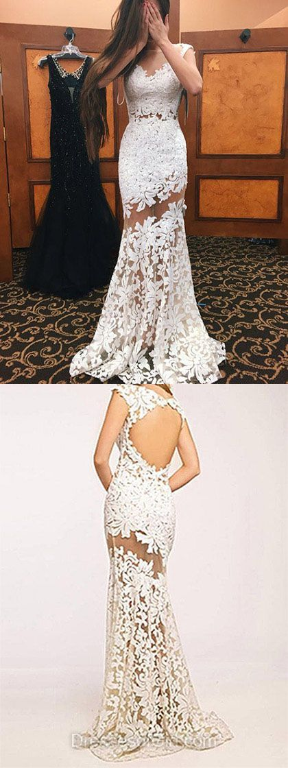 Newest Trumpet/Mermaid Scoop Neck Tulle Sweep Train Appliques Lace Ivory Open Back Prom Dresses