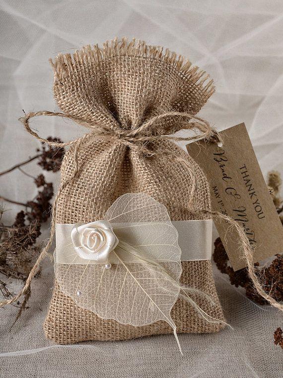 Flower and Leaf  Favor Bag, Rustic Wedding, Wedding Favor Bag , Burlap Favor Bag , Wedding thank you bag, Rustic gift bag,lets love grow on Etsy, $1.80