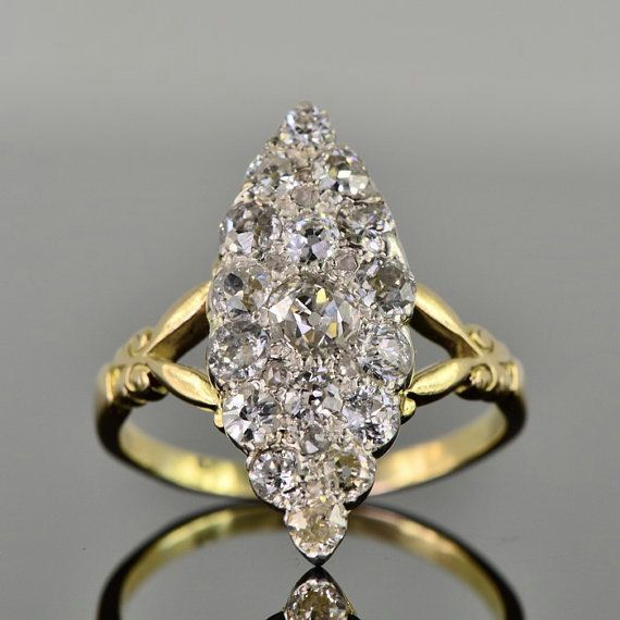 Victorian 2.30 Ct diamond navette shape by AntiqueVelvetGloves