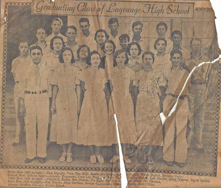 LaGrange High School Graduation Class about 1934 Melvin Hebert at bottom right