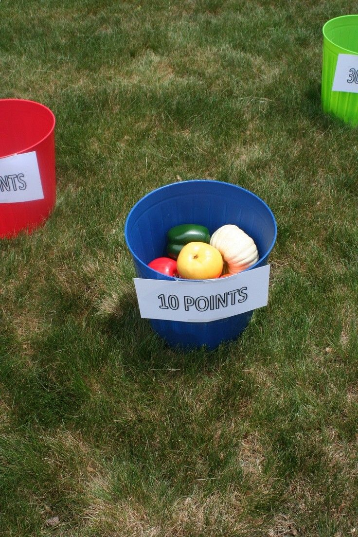 Ethan's Veggie Tales Birthday party- Produce Toss Game (using buckets and foam veggies from the Dollar Store)