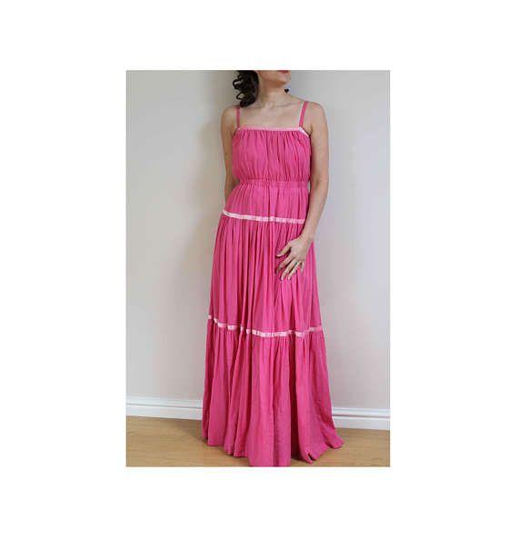 Pink cotton dress muslin dress maxi dress vintage dress 70s