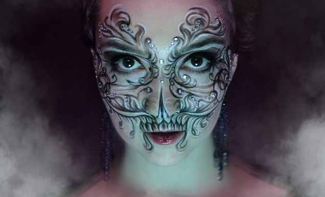 """Alternate view: Intricate crystal accented fantasy makeup inspired by """"The Four Horsemen: Death"""" by Klaire de Lys."""