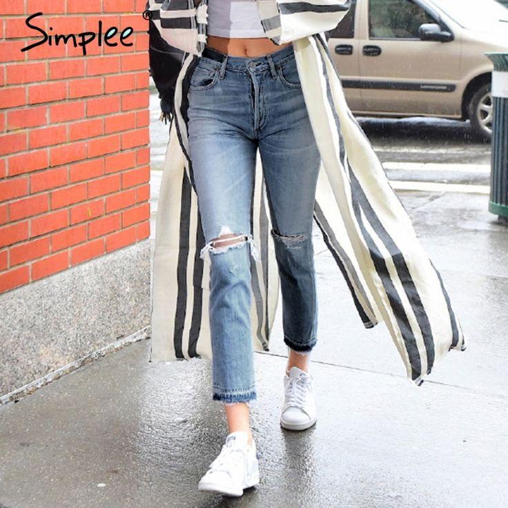 Simplee Основной джинсовой выдалбливают джинсы женские Старинные черный boyfriend рваные джинсы брюки Женщины причинно лето 2017 джинсы капри купить на AliExpress