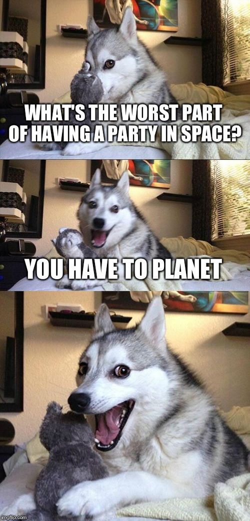 Bad Pun Dog | WHAT'S THE WORST PART OF HAVING A PARTY IN SPACE? YOU HAVE TO PLANET | image tagged in memes,bad pun dog | made w/ Imgflip meme maker