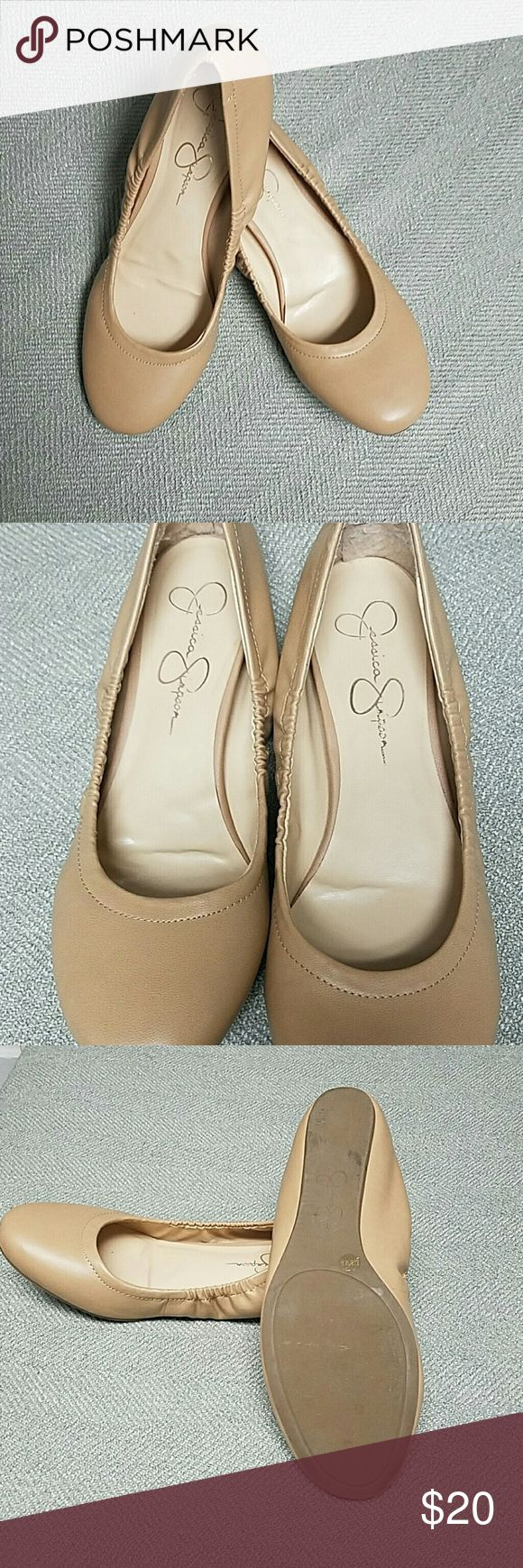 Jessica Simpson Ballet Flats Jessica Simpson Flats size 8.5, tan color, leather exterior, excellent condition with signs of wear where the heel rubs against the back of the shoe. Please message me if you have any questions! Jessica Simpson Shoes Flats & Loafers