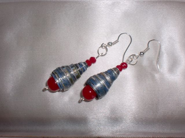 Bell shaped paper beads along with red glass beads -  handmade earrings