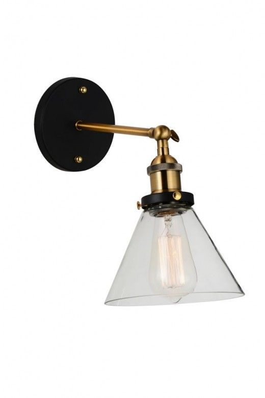 Cwi Lighting 9735w7 1 101 Eustis 1 Light Wall Sconce In Black Gold