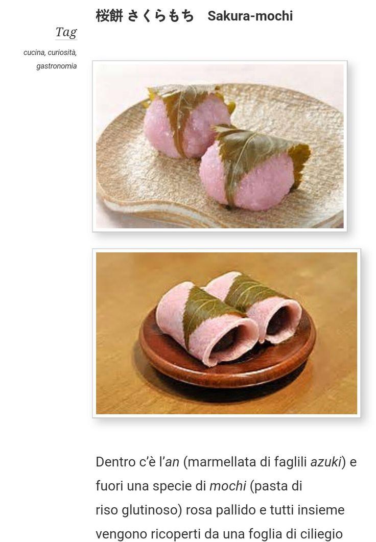 Dentro c'è l'an(marmellata di fagliliazuki) e fuori una specie dimochi(pasta di risoglutinoso)rosa pallido e tutti insieme vengono ricoperti da una foglia di ciliegio salata. Si mangia nella stagione della fioritura dei ciliegi.  sopra c'e' quello tipico diKansai(intorno a Osaka) esotto c' e' quello tipico diKanto(intorno a Tokyo), sono differentidella pasta dimochi.