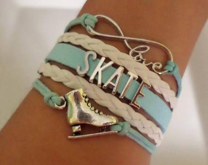 Skate bracelet, Figure skating bracelet gift, Skate jewelry, Skating shoe charm, Skater jewelry, Infinity Softball, light Blue/White colors