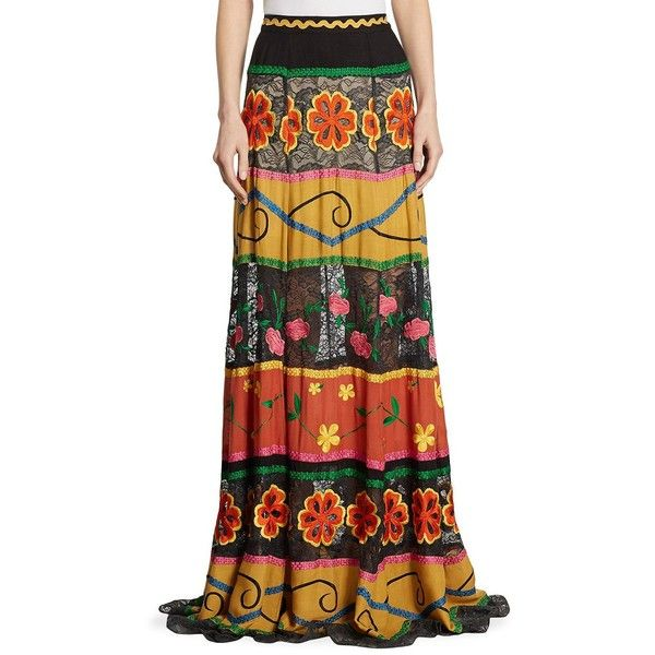 Alice + Olivia Athena Embroidered Lace-Inset Maxi Skirt (875 AUD) ❤ liked on Polyvore featuring skirts, lace skirt, long lace skirt, lace maxi skirts, embroidered skirt and zip skirt