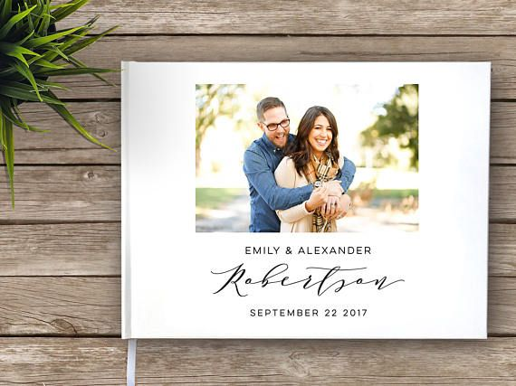 Wedding Guest Book with photo Photo guest book Calligraphy