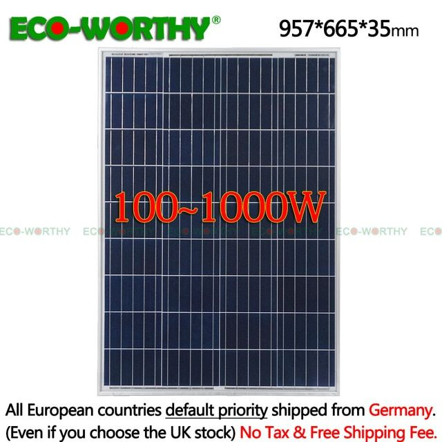 1 2 3 4 6 8 10pcs 100w 18v Polycrystalline Solar Panels For 12v Battery Rv Boat Car Home Solar Power System Solar Power House Solar Panels Solar Energy Panels