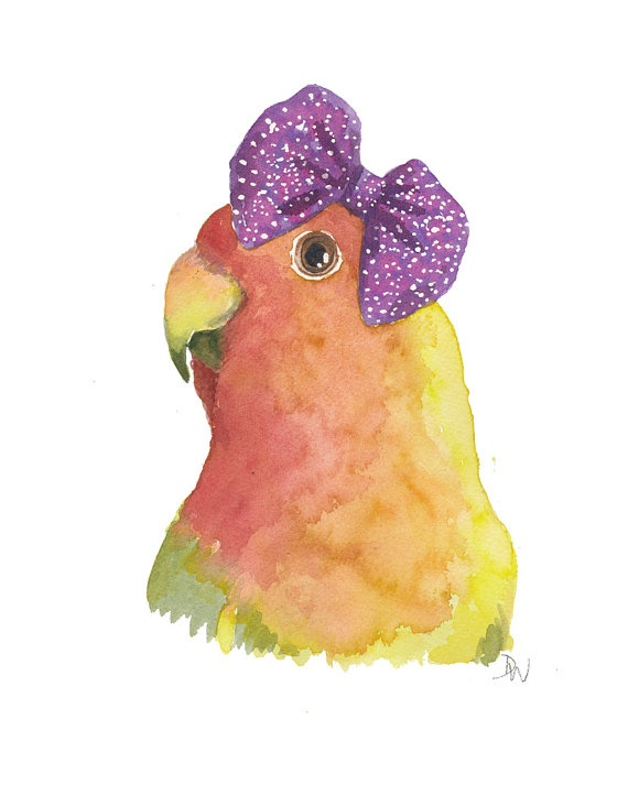 Bird Watercolor - Love Bird Painting, Original Watercolour, Hair Bow, Bird Illustration, 8x10. $40.00, via Etsy.