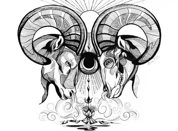 Black and White Wall Art Art Print Aries Art Print by LunaBrieArts