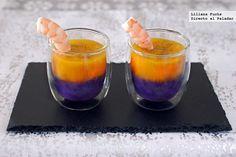 Receta de vasitos de cremas bicolor con langostinos. Con fotografías del paso a paso, consejos y sugerencias de degustación. Recetas de aperitivo...
