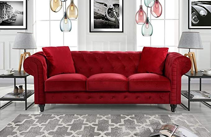 Divano Roma Furniture Classic Velvet Scroll Arm Tufted Button