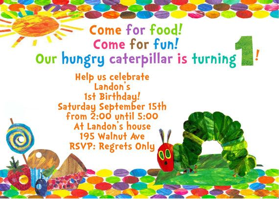 The 140 best reagans first birthday eric carle images on pinterest very hungry caterpillar eric carle birthday invite card can be personalized or customized invitation jpeg printable filmwisefo
