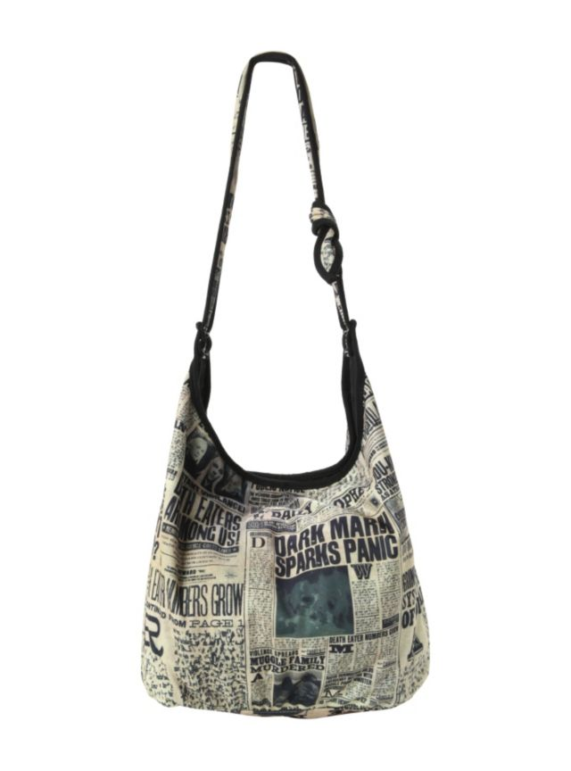 The London-based Daily Prophet has been a major source of news for the wizarding community since 1883 - this hobo style bag features an allover headlines design.