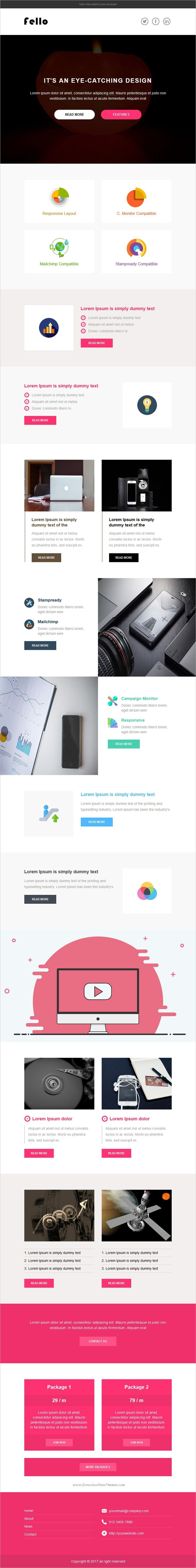 Fello is clean and modern design responsive #email #newsletter template for viral #marketing with #campaign monitor, Mailchimp and stampready builder download now..