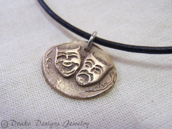 comedy and tragedy theater mask golden bronze wax seal jewelry on Etsy, $45.00